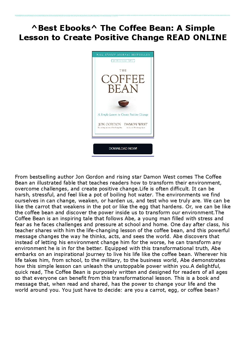 ^Best Ebooks^ The Coffee Bean A Simple Lesson to Create