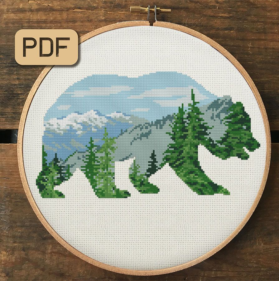 Grizzly Bear Animal by Canadian A.J Casson Counted Cross Stitch Pattern