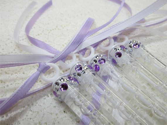 140 Wedding Bubble Wands With Rhinestone And 2 Ribbons