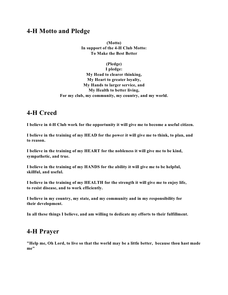 4h motto pledge creed and prayer clover kids club crafts for