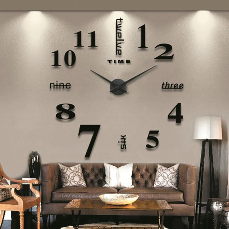 Cheap New Black Wall Clock Living Room DIY 3D Home Decoration Mirror ...