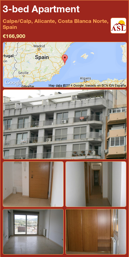 3-bed Apartment in Calpe/Calp, Alicante, Costa Blanca Norte, Spain ►€166,900 #PropertyForSaleInSpain