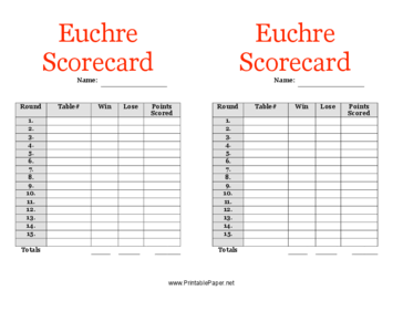 This Euchre Scorecard Has Room To Record Your Scores While Playing