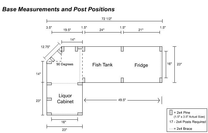 Bar Layout   Base Measurements And Post Positions