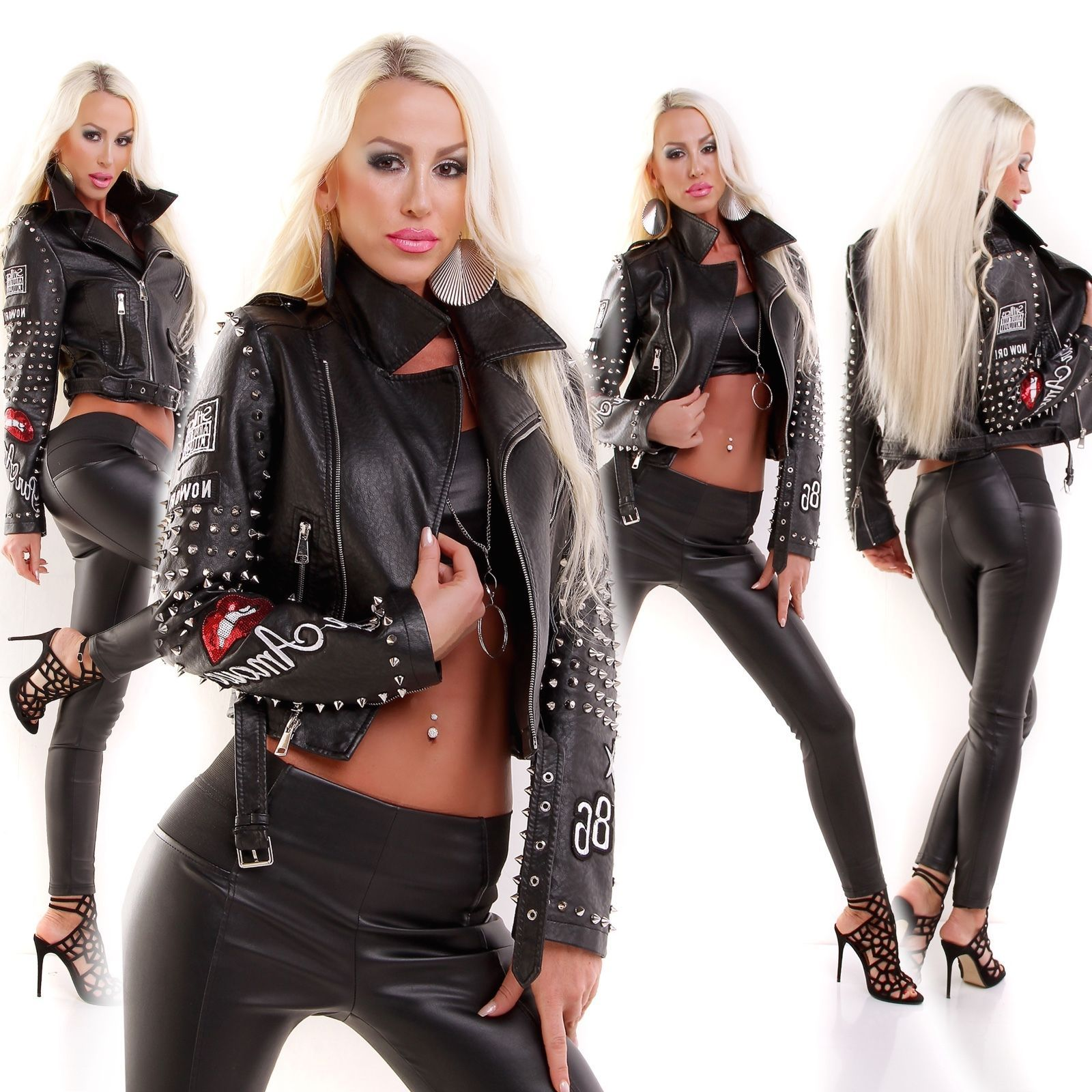 Women/'s Stylish Limited Edition Leather look Biker Punk style jacket UK 10.12