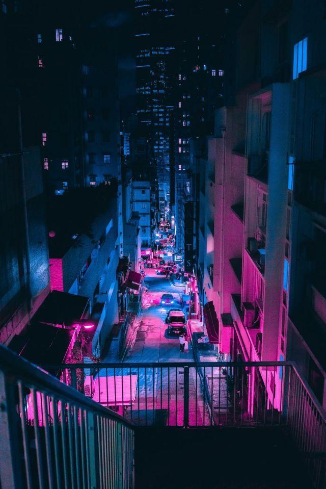 Neon Street Cyberpunk Imprimé Fluo Noir Avenir Punk Sci-Fi Coloré photographie