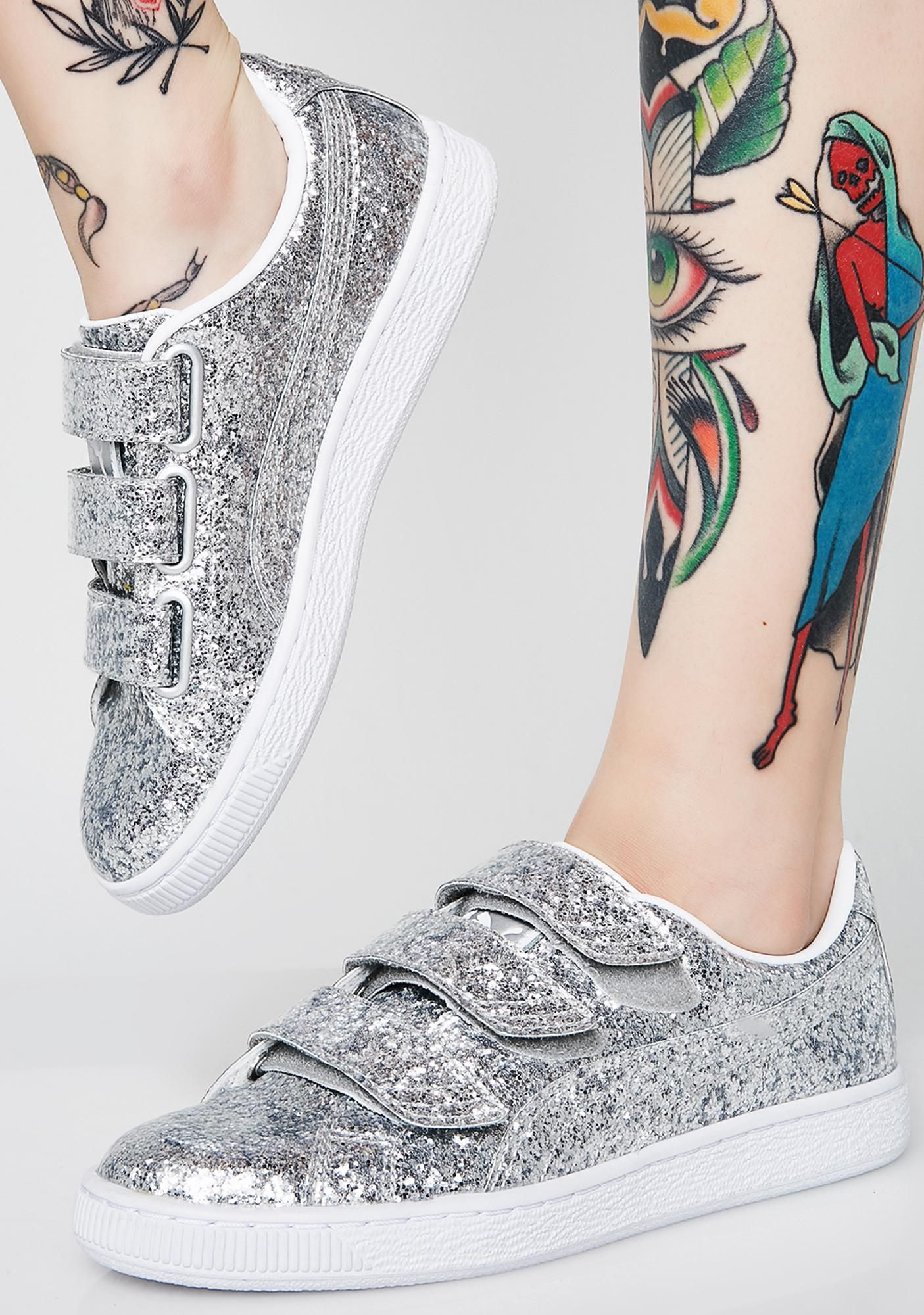 quality design d0695 78c93 PUMA Basket Strap Glitter Sneakers cuz you gotta get your sparkle on. These  sikk sneakers have a silver glitter exterior and three velcro straps on top.