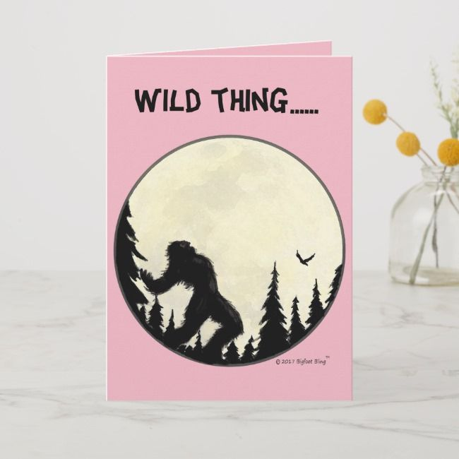 Wild thing Valentines Day card in pink