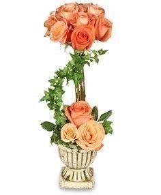 Peach Rose Topiary Arrangement Sympathy Flower Shop Network Arreglos Florales Arreglo Floral Rosas Flores