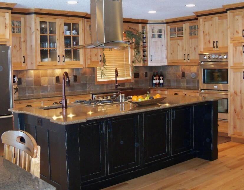 10 Rustic Kitchen Cabinet Ideas 2020 For Fabulous Kitchen Look Avantela Home Black Kitchen Island Hickory Kitchen Cabinets Hickory Kitchen