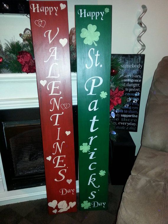 Happy St Patrick S Day Vertical Porch Wood Sign Reversible Sign Distressed Wood Rustic Extra Large Valentines Sign Porch Signs Easter Wood Crafts