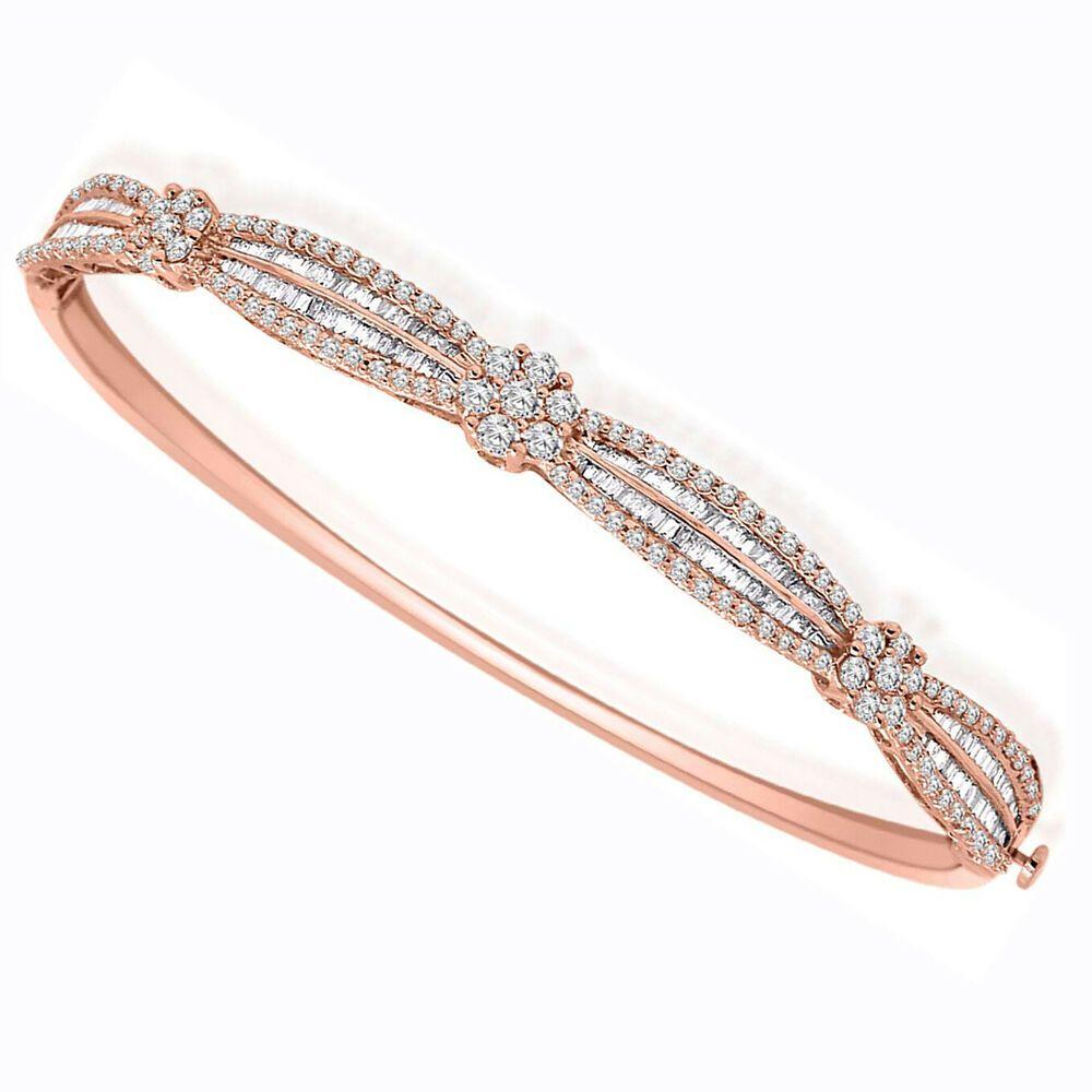 Igi Certified 1 64ct Round Baguette Diamond Cluster Bracelet In 10k Rose Gold Dazzlingjewels19 Cluster Cluster Bracelets Diamond Cluster Baguette Diamond