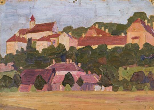 View of Neulengbach   -  Egon Schiele  1909  Austrian, 1890-1918   Oil on cardboard,  22.5 x 31.5 cm. (8.9 x 12.4 in.)