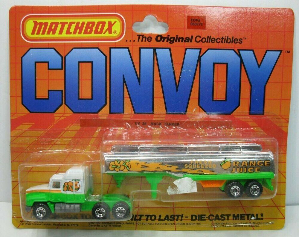 Matchbox 1990 Convoy Orange Juice Semi Truck Trailer Tanker On