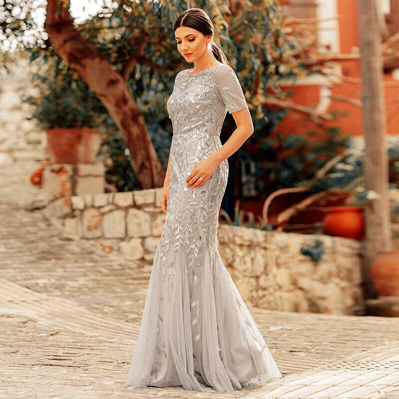 Ever-Pretty US Maxi Long Evening Dress Sequins Cocktail Ball Wedding Gown 07707