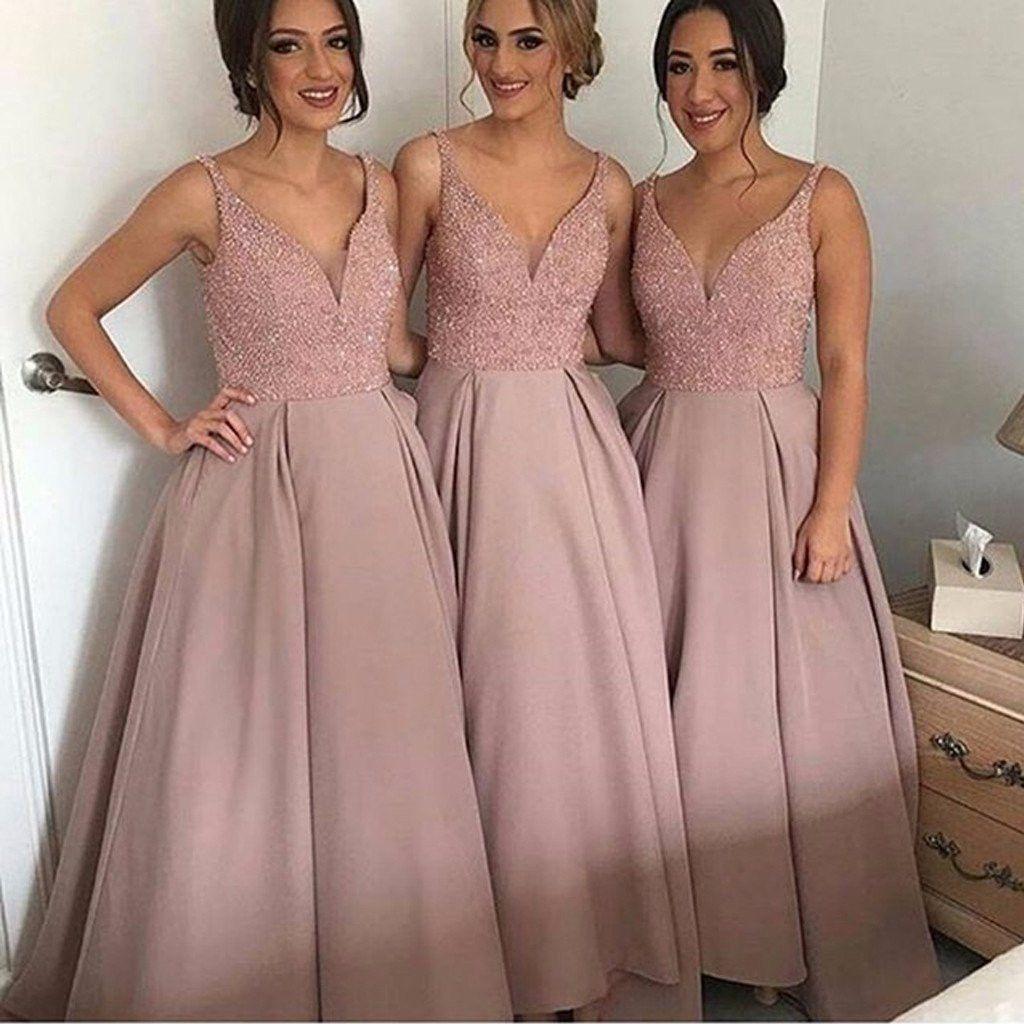 Blush Bridesmaid Dresses,Beaded Bridesmaid Dresses,Blush Pink ...