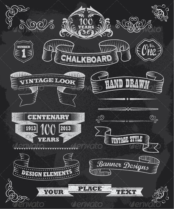 Vintage Chalkboard Calligraphy Banners | Invites ...