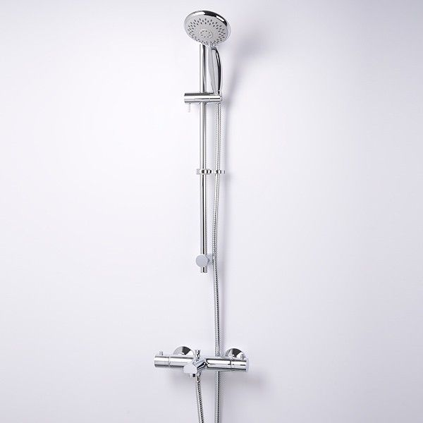 GBP21595 Faro Thermostatic Wall Mounted Bath Shower Mixer With Space Slide Rail Kit
