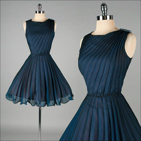 c994548aa Vintage 1950s Dress . Blue Crepe Chiffon . Rhinestone Brooch . XS S ...