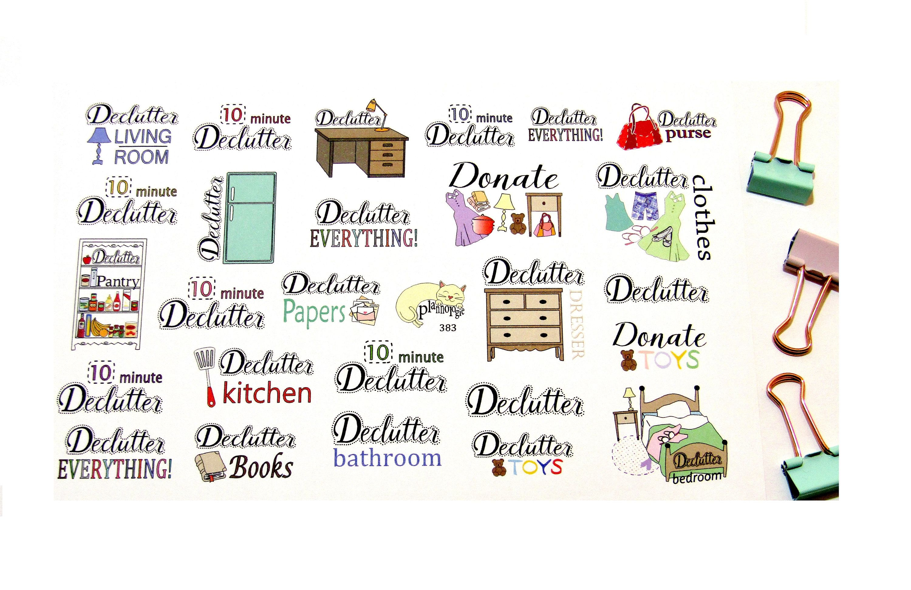 Declutter Stickers Cleaning Stickers Spring Cleaning
