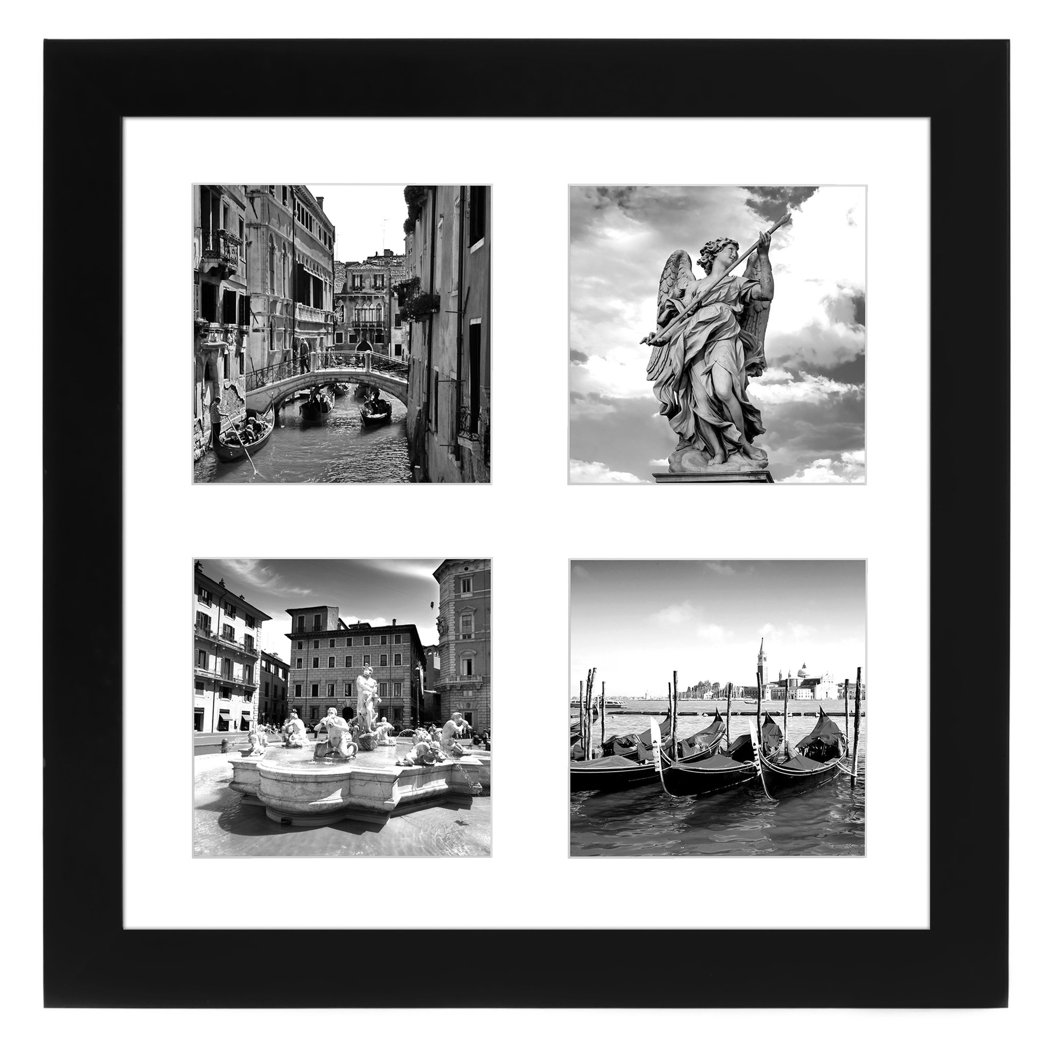 Americanflat Top Rated Black Collage Picture Frame Made For Four Photos Sized 4x4 Inch Smartphone Collection Glass Size 10x10 Collage Picture Frames Picture Frame Display Distressed Picture Frames
