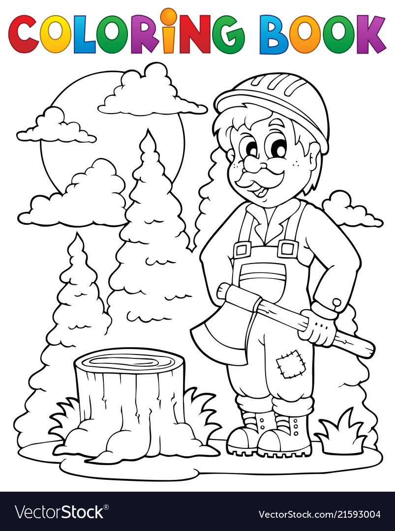 Coloring Book Lumberjack Theme 1 Eps10 Vector Illustration Download A Free Preview Or High Quality Coloring Books Anniversary Cards Handmade Coloring Pages