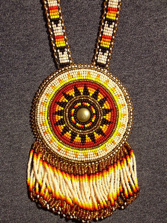 Beaded Medallion Rosette Lakota Native American By