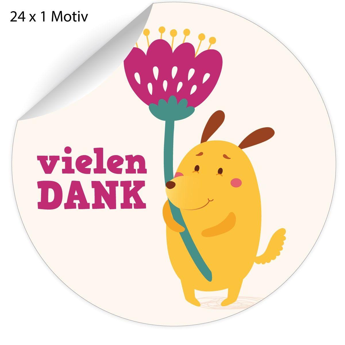 24 süße Dankes #Aufkleber mit #Comic Hündchen und Blume: Vielen Dank ...