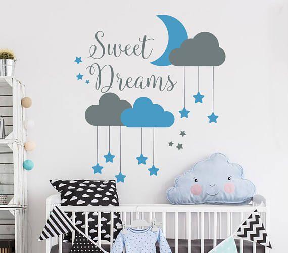 Sweet Dreams Wall Decal Baby Nursery Wall Decal Quote Sweet Dreams - Nursery wall decals clouds