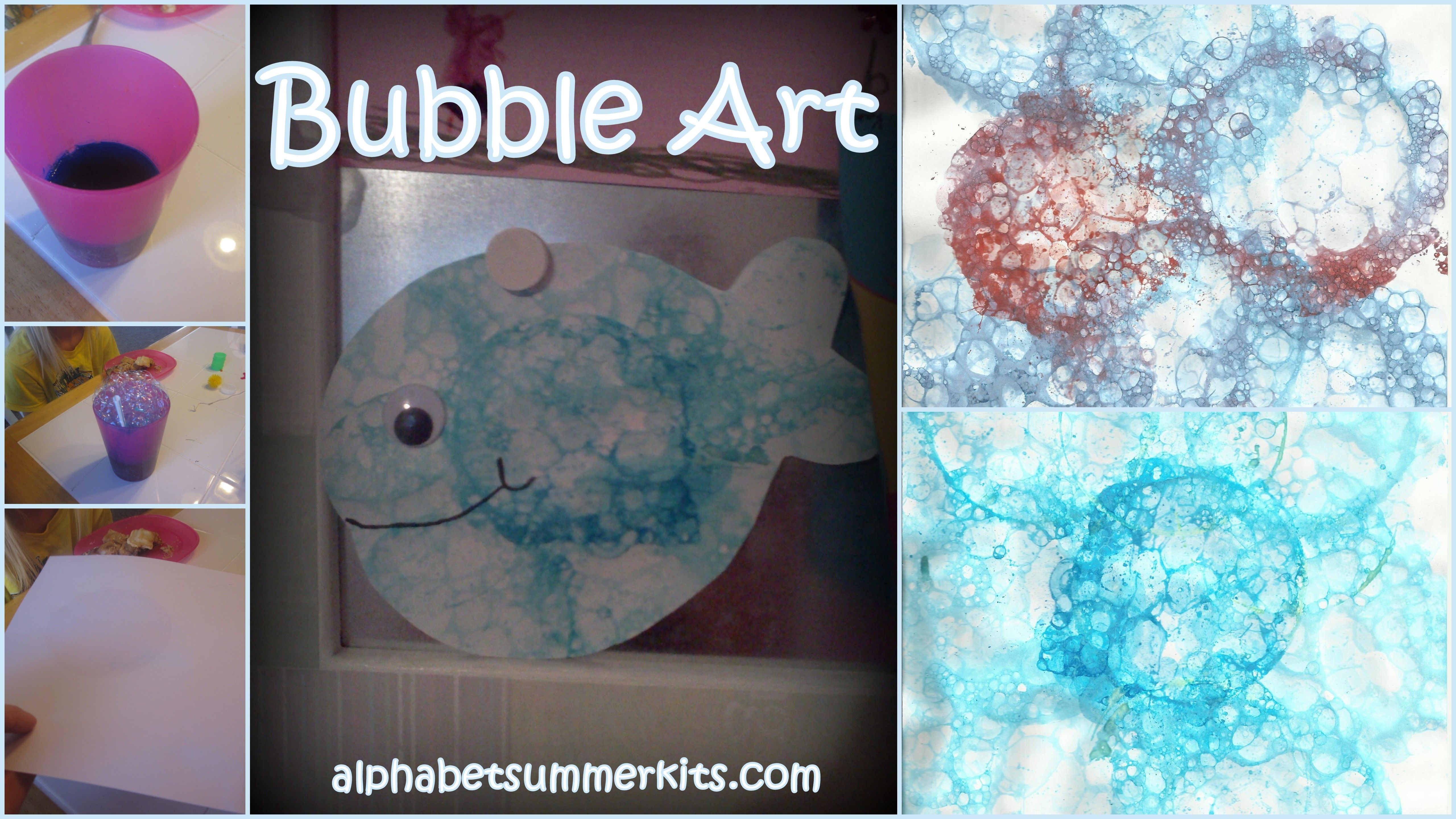 Bubble art for kids - easy, fun and makes a great effect, especially for an underwater background!