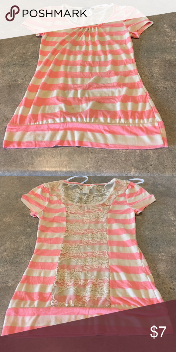 Light pink and ivory striped lace back shirt Stripped lace back shirt Super soft and stretchy size small  NWOT  Smoke free home Deb Tops Blouses