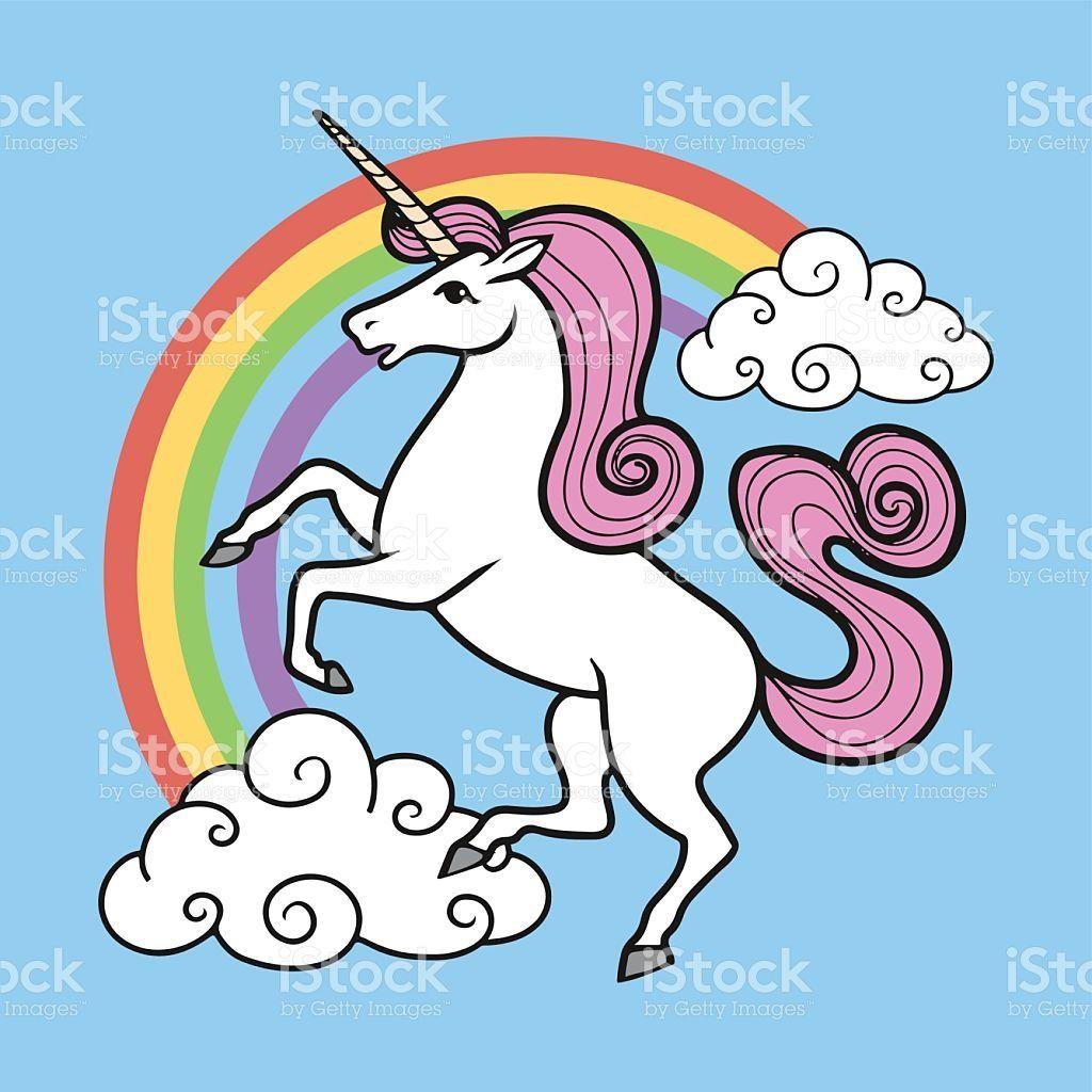 Cartoon Unicorn With Rainbow And Clouds Imagenes De Unicornios