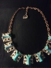 VINTAGE COSTUME JEWELRY ~ Nice Turquoise, Pearl & Silver Necklace ~ FREE SHIPPING