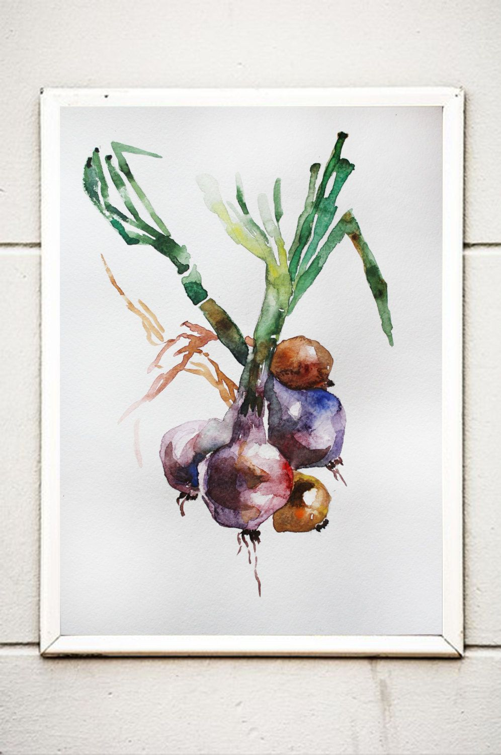 Green Onions Original Watercolor Painting 4 X 6 Vegetable