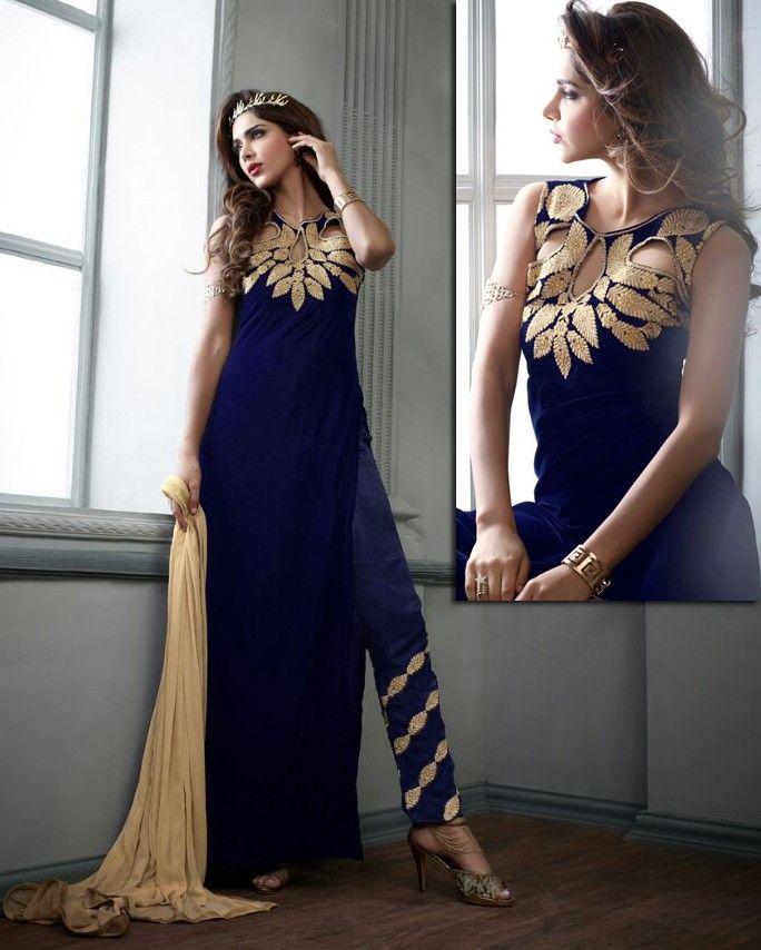 e2aedf72d8 Blue Velvet Narrow Pant Suit with Dupatta - SALWAR KAMEEZ - Women ...