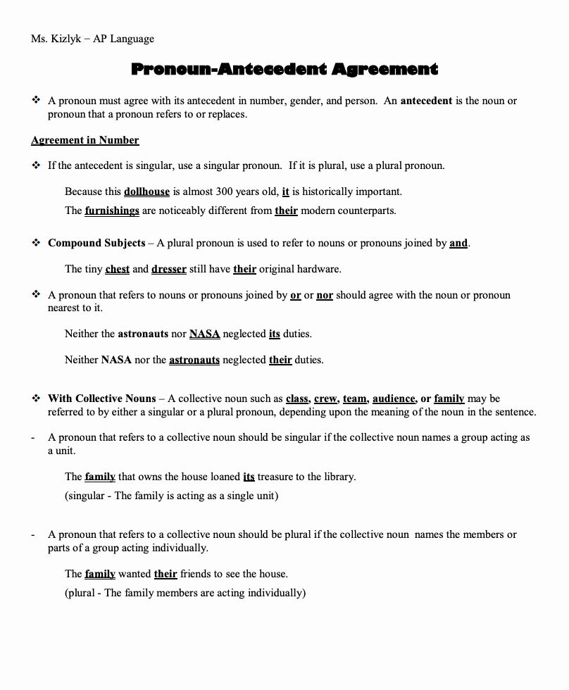 Pronoun Antecedent Agreement Worksheet Lovely Pronoun Antecedent Agreemen In 2020 Pronoun Antecedent Agreement Word Problem Worksheets Subject And Predicate Worksheets