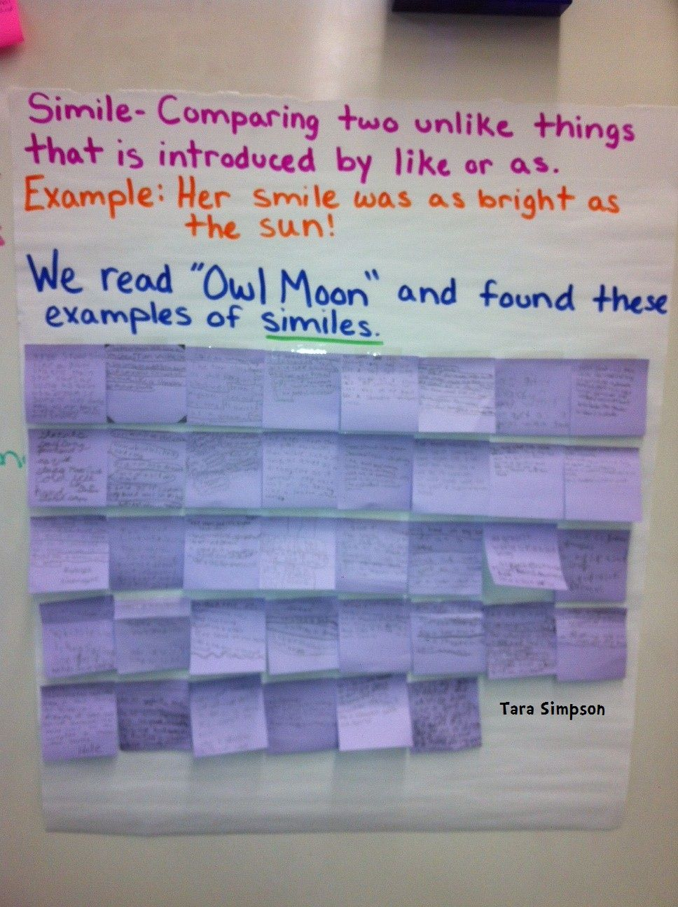 Simile Anchor Chart Also Has Interesting Charts For Personification
