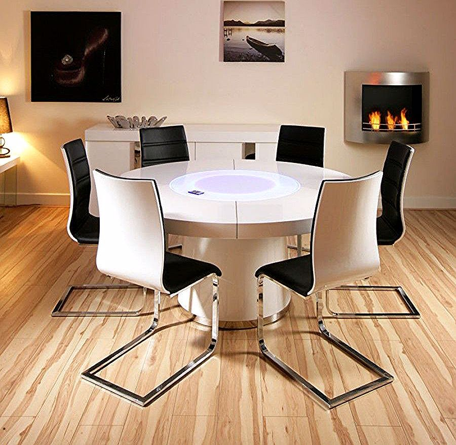 Large Round White Gloss Dining Table 6 White Black Dining