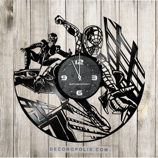Spiderman vinyl record clock from LP for kids room