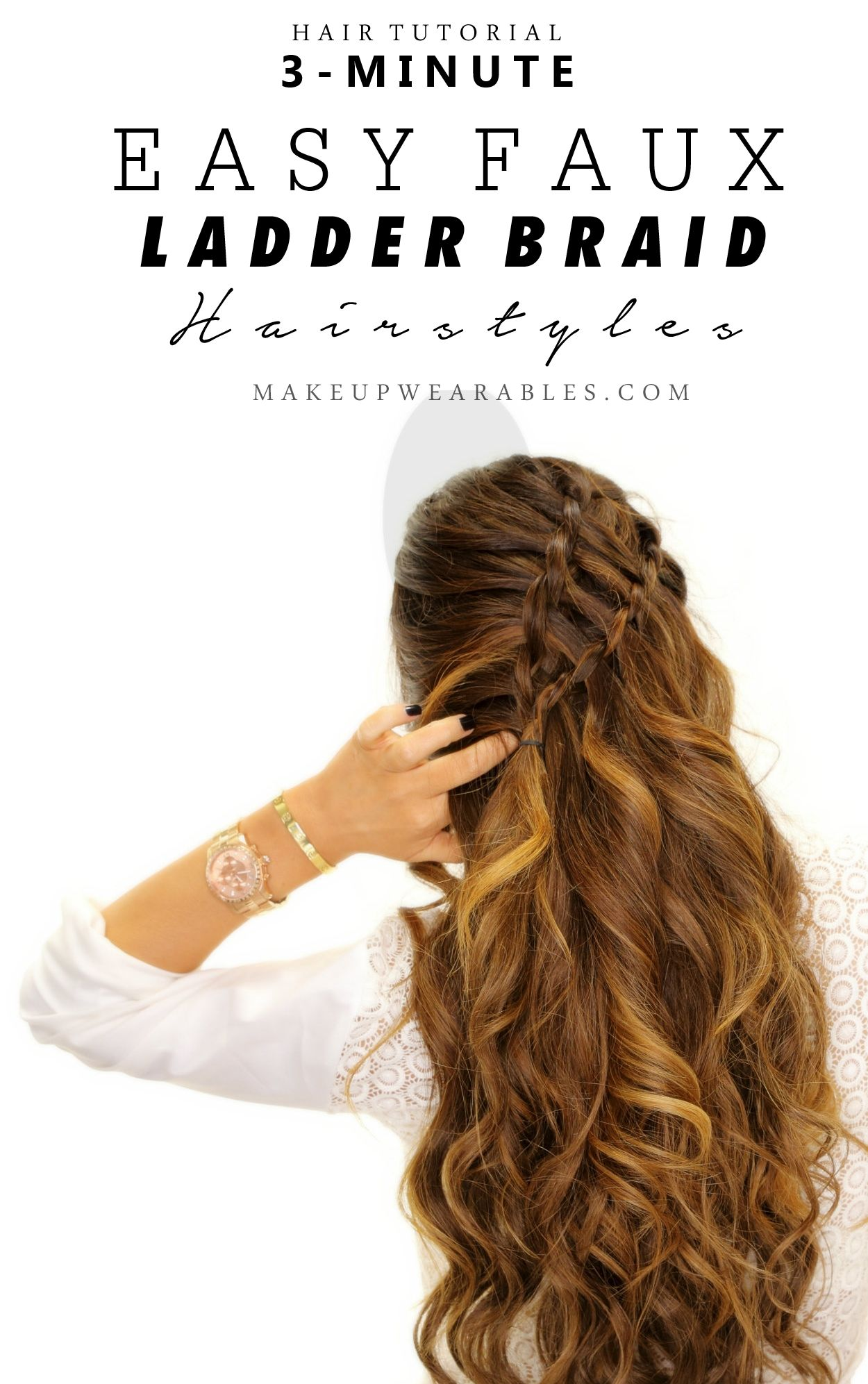 Minute fake waterfall ladderbraid tutorial cute easy halfup