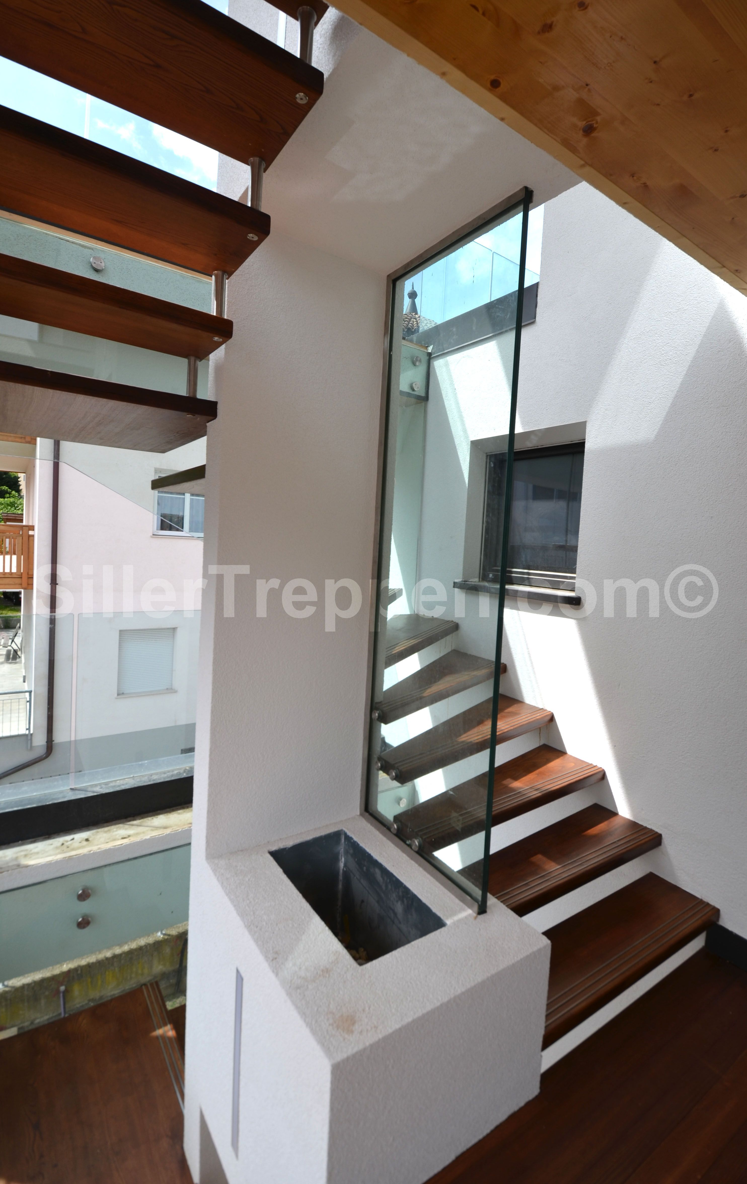 Best Floating Stair With Wood Treads Structural Glass Railing 640 x 480