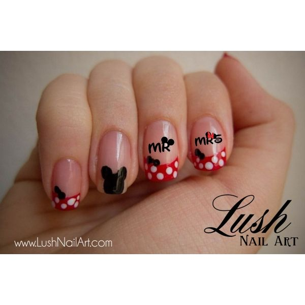 Mickey Minnie Mouse Kiss Ears Mr Mrs Disney Nail Art Water