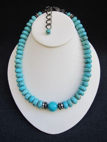 """AYITA    ~ 1/2"""" Turquoise Discs  ~ 5/8"""" Round Faceted Turquoise Jade Centerpiece  ~ Gunmetal Disc Accents  ~ Rhinestone Rondelles    18 1/2"""" Length w/2 1/2"""" Gunmetal Link Extender Chain  Gunmetal Lobster Claw Closure    $248.00"""