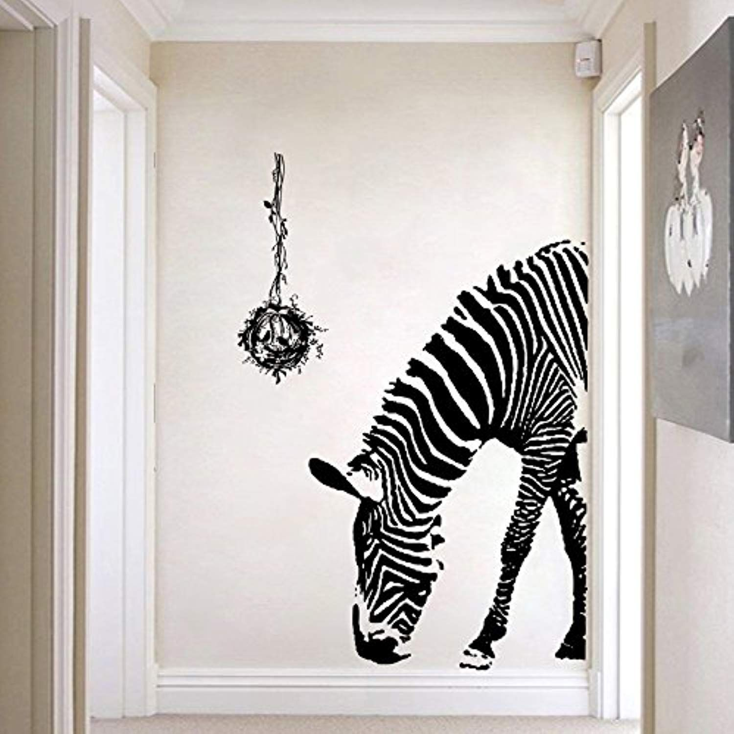 Zebra wall decal wildlife wall stickers black and white wall