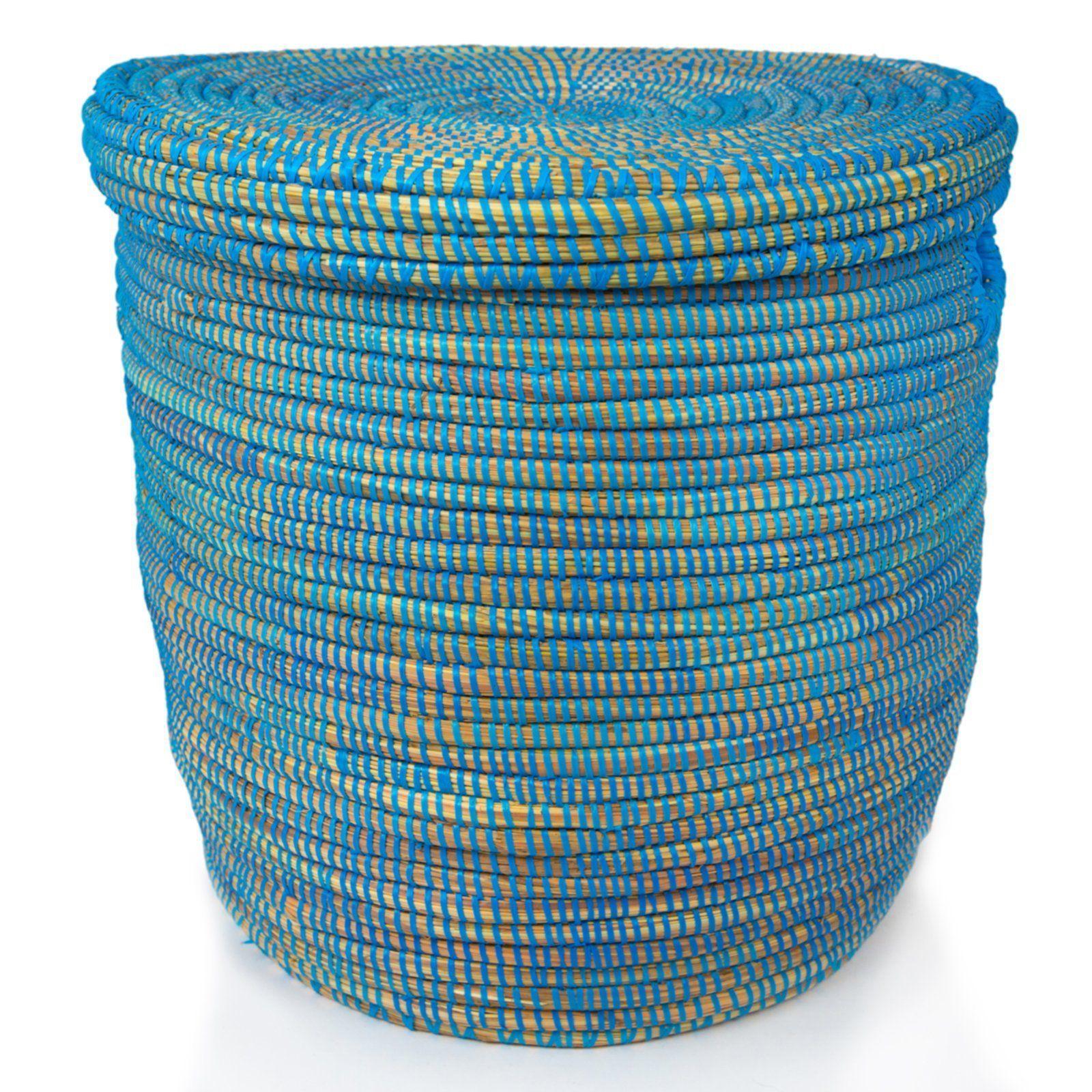 Blue African Basket Hamper With Lid 21 5 H Basket Hamper