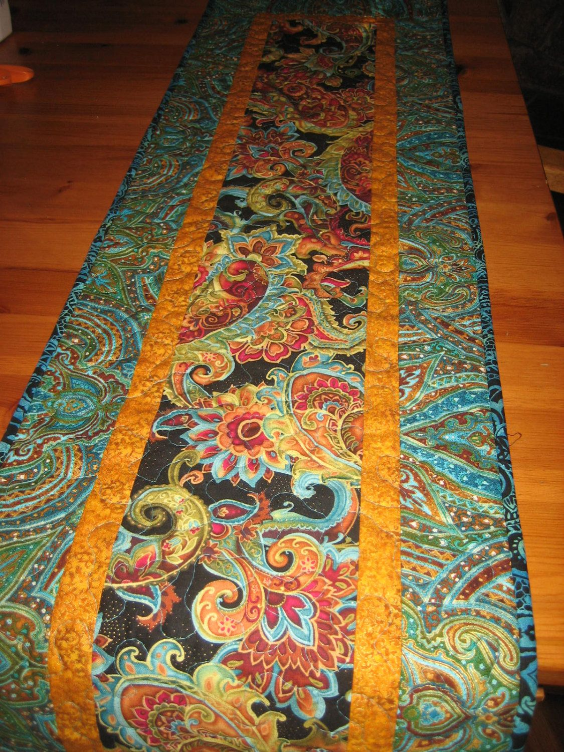 Quilted Table Runner Blue Red Orange Green Paisley Table