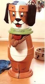 Clay Pot Dog.  3 pots and 2 plates  cool