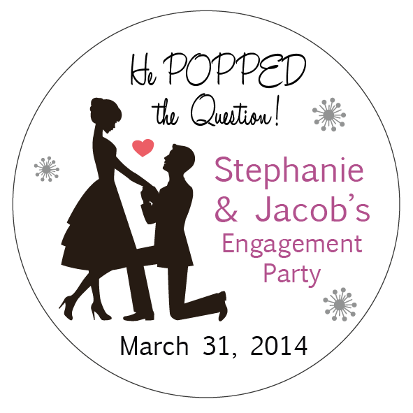 Engagement party stickers perfect for party bags or sweet cones