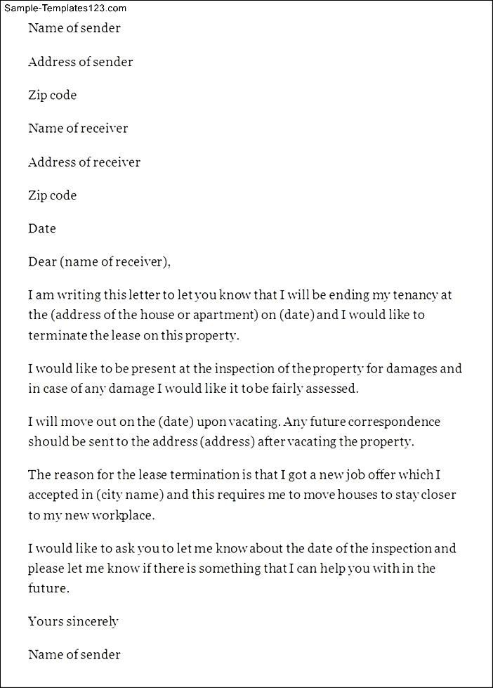 Letter Sample Free Lease Termination Templates Letters Services