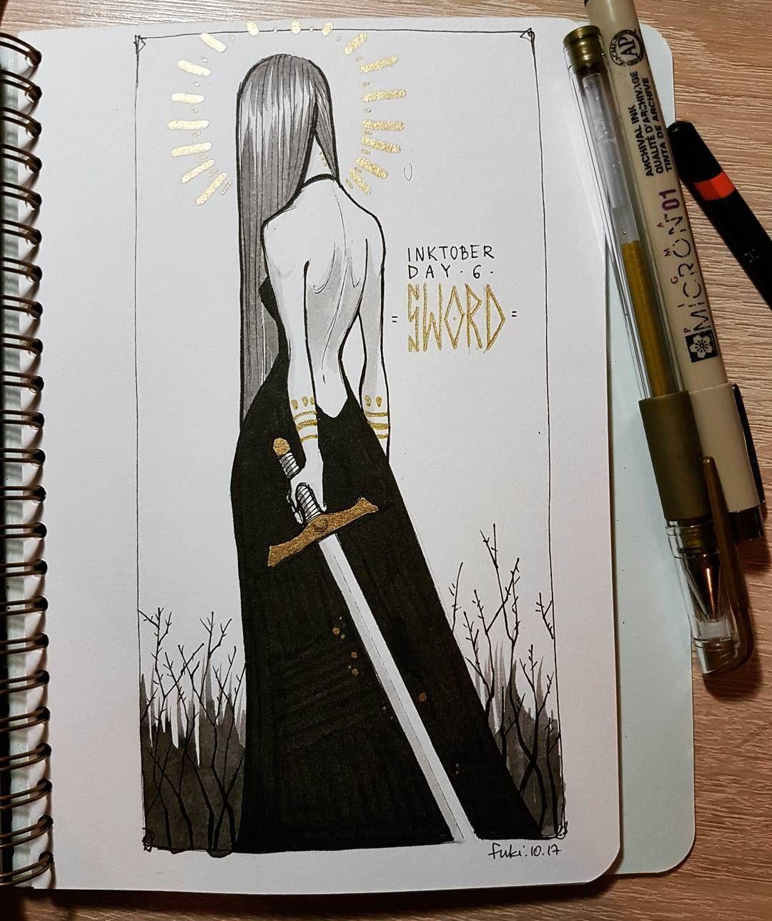 "Fuki / Fukari sur Instagram: «Jour 6 - épée 🗡️ Rapide, car je suis tellement en retard avec ce défi! # inktober2017 #inktober #witchtober """